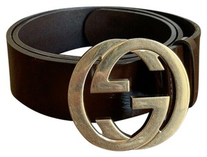Gucci GG Interlocking Supreme Dark Brown Leather Men's Belt Size 36