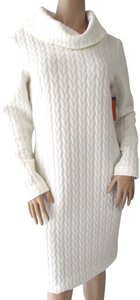 Frank Lyman short dress White Cable Knit Quilted Textured Cowl Neck Sweater on Tradesy