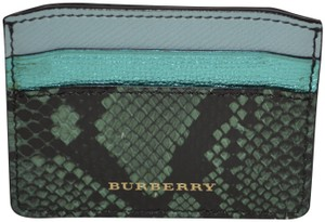 Burberry NWT BURBERRY MULTICOLOUR LIGHT MINT LEATHER IZZY CARD CASE WALLET