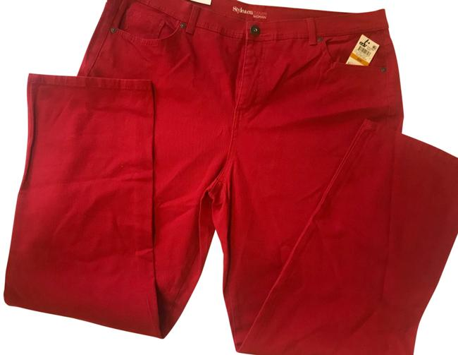 Item - Red Coated Style&co Tummy Control Boot Cut Jeans Size 16 (XL, Plus 0x)
