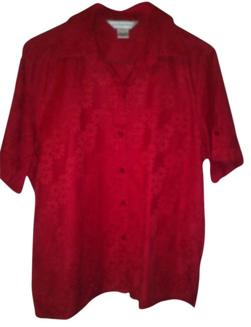 Allison Daley Button Down Shirt Red