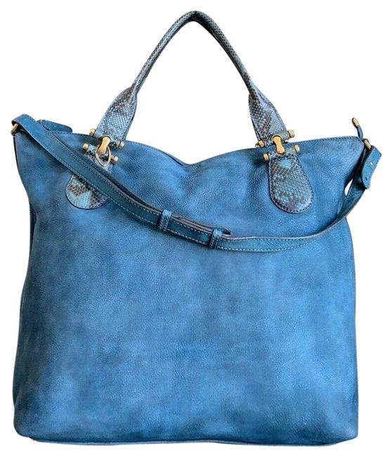 Item - Bag Twice Suede and Leather Blue Python & Nubuck Tote