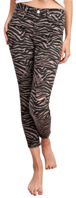 Item - Black and Brown Distressed Animal Print Capri/Cropped Jeans Size 28 (4, S)