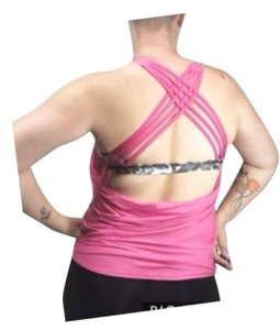lululemon athletica In The Wild Backless Open Back Criss Cross Running Top Green Pink