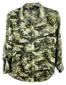 About A Girl Crinkle Polyester Camouflage Camo Button-up Button Down Shirt Army Green