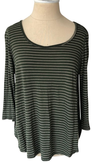 Item - Green and Tan Striped Slit 3/4 Sleeve Tee Shirt Size 2 (XS)