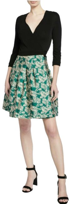 Item - Black and Green Jewel Wrap Leaf-print Short Night Out Dress Size 4 (S)