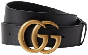 Gucci NEW THICK GUCCI BELT 90 cm BLACK LEATHER GG GOLD LOGO