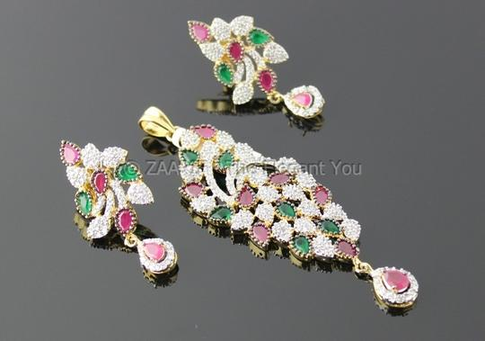 Other American Diamond Red and Green stone studded Pendant Set