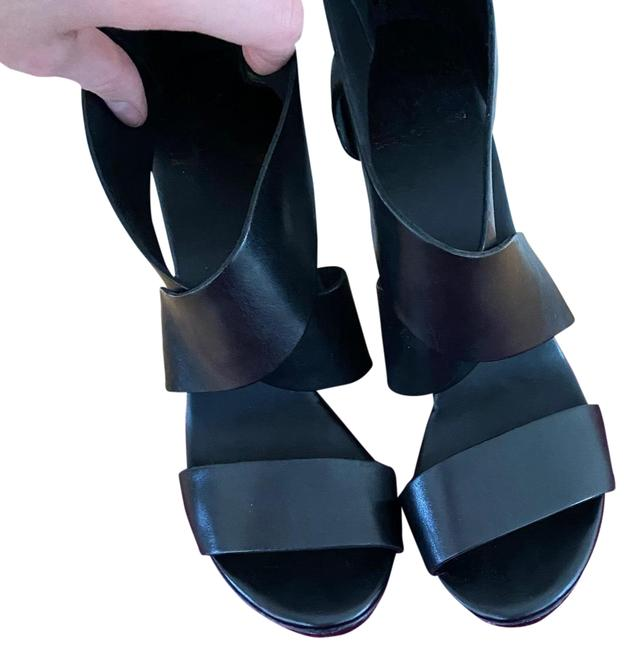 Item - Black Opal Leather and Wood Wedges Size US 8 Regular (M, B)