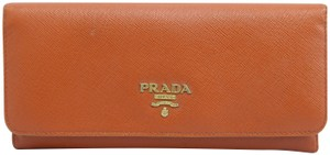 Prada Orange Vitello Shine Flap Wallet