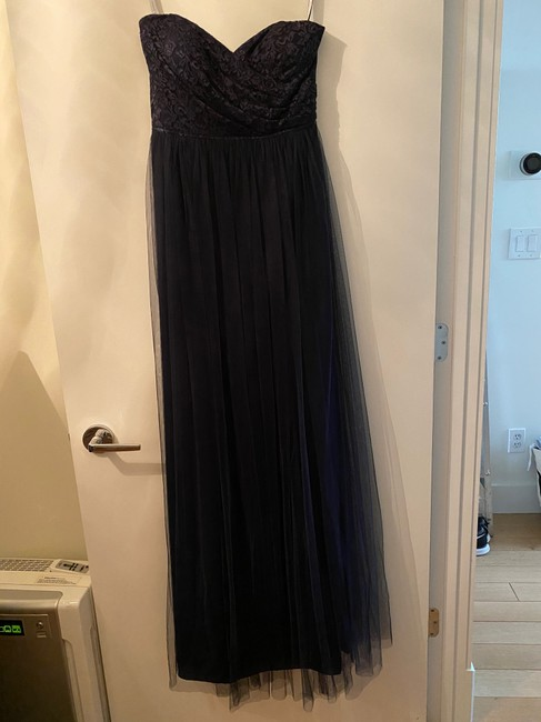 Item - Navy Blue Chiffon Strapless Formal Bridesmaid/Mob Dress Size 4 (S)