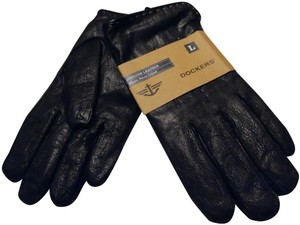 Dockers Dockers Men's Black Leather Gloves So Soft Micro Terry Lined