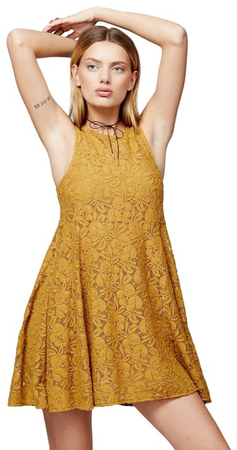 Item - Gold Forever and Ever Lace Mini Shift Short Casual Dress Size 10 (M)