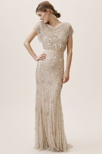 BHLDN Champagne Beaded Outer Sunset Feminine Wedding Dress Size 14 (L)