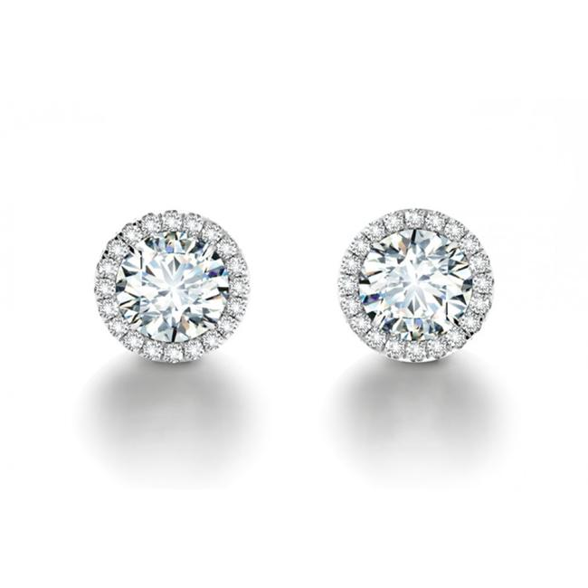 Item - White 6.42 Ct. Round Cut Cubic Zirconia Halo Stud In Sterling Silve Earrings