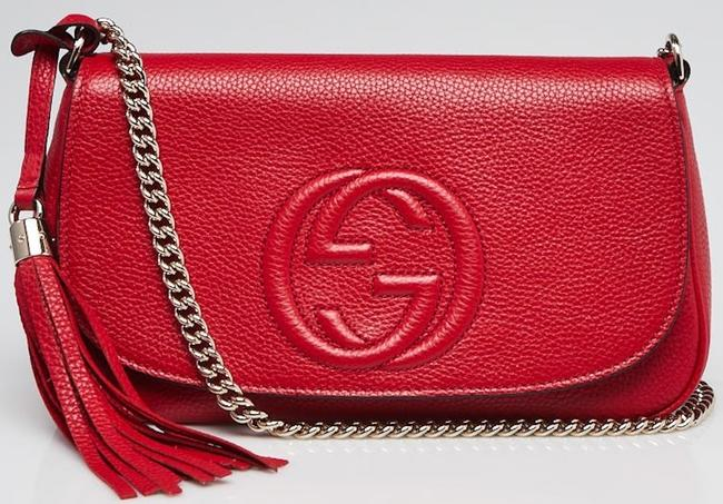 Gucci Shoulder Marmont Messenger Clutch Soho New Gg Chain Tote Red Leather Cross Body Bag Gucci Shoulder Marmont Messenger Clutch Soho New Gg Chain Tote Red Leather Cross Body Bag Image 1