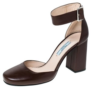 Prada Leather Ankle Strap Brown Sandals