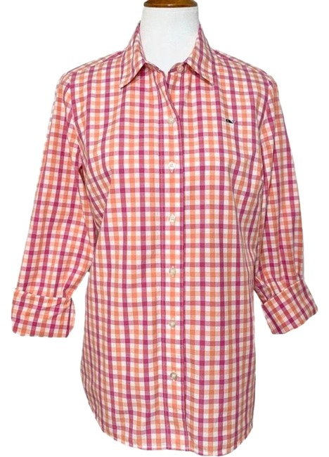 Item - Pink & Coral Check Print Button-down Top Size 8 (M)