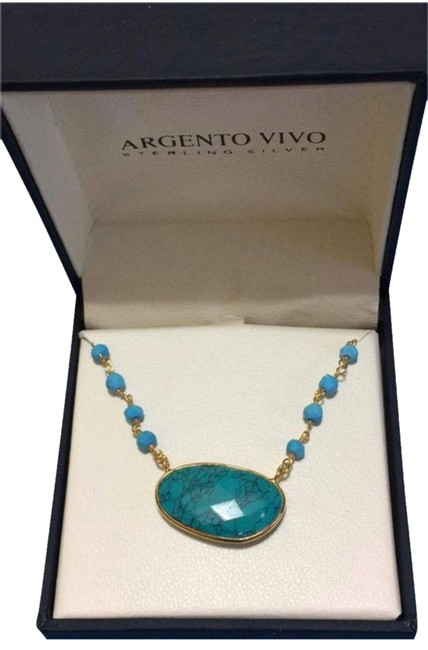 Argento Vivo Turquoise Brass Patina Sterling Silver Necklace Argento Vivo Turquoise Brass Patina Sterling Silver Necklace Image 1