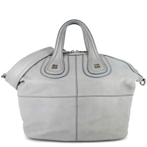 Givenchy Weekender Pebbled Top Handle Zipper Silver Satchel in Gray