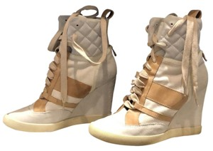 Chloé Cream and Brown Wedges