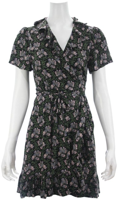 Item - Black Storm Cloud Floral Cardamom Ruffle Wrap Small Short Casual Dress Size 4 (S)
