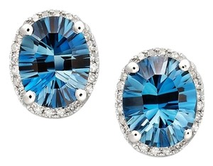 Macy's London Blue Topaz (4-1/2 ct. t.w.) and Diamond (1/8 ct. t.w.) Oval Stud Earrings