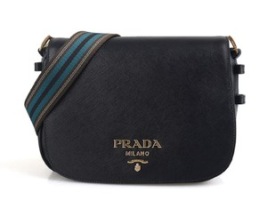 Prada Leather Leather Striped Saffiano Cross Body Bag