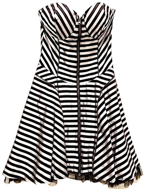 Item - Black Silver Strapless Cocktail Short Night Out Dress Size 4 (S)