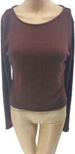 Forever 21 Crop Blouse T Shirt Brown