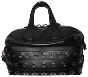 Givenchy Nightingale Small Eyelet Leather Satchel in Black