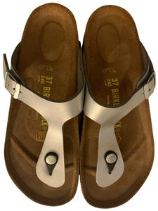 Silver Birkenstock Sandals Up to 90% off at Tradesy