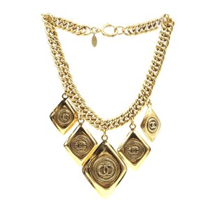 Chanel RARE CC XL Multiple Diamond Shape Charm Chain Quilted Necklace