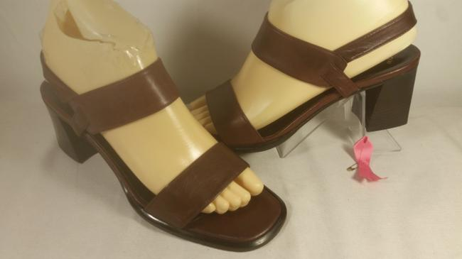 Item - Rust Coffee Brown Italy Leather Women's Slingback Peep Toe Dress Casual Sandals Size US 7.5 Regular (M, B)