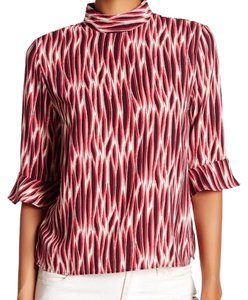 14th & Union Mock Turtleneck High Waisted Crop Ruffle Top red