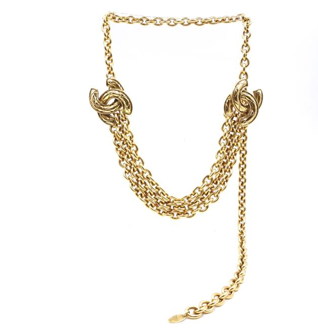 Item - #35680 Gold Rare Quilted Cc Double Charm Cc Chain Long Belt Two Way Necklace