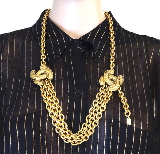 Chanel RARE Quilted CC double charm CC chain long gold necklace belt two way Image 1