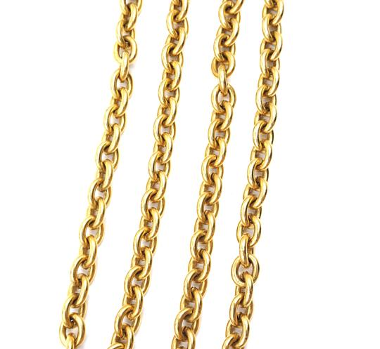 Chanel RARE Quilted CC double charm CC chain long gold necklace belt two way Image 10