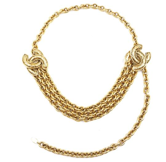 Chanel RARE Quilted CC double charm CC chain long gold necklace belt two way Image 4