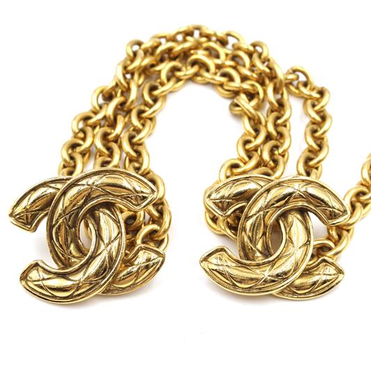 Chanel RARE Quilted CC double charm CC chain long gold necklace belt two way Image 6