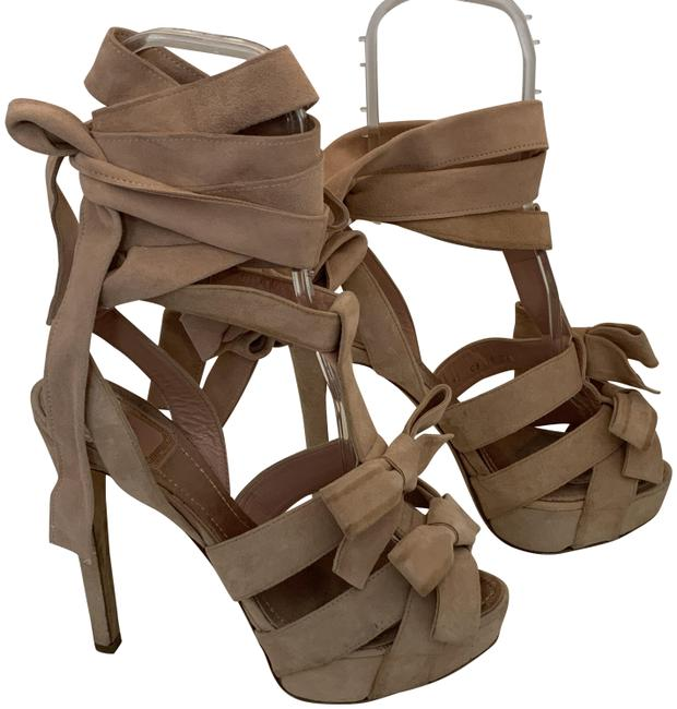 Item - Red Christian 128120 Pink Suede Strappy Tie Up Heels Sandals Size EU 38.5 (Approx. US 8.5) Regular (M, B)