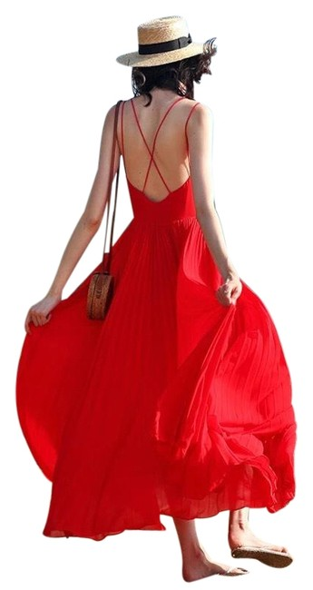 Item - Red Long Casual Maxi Dress Size 6 (S)