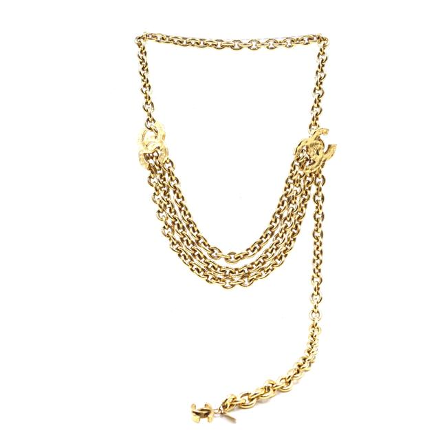 Item - #35681 Gold Rare Hammered Cc Double Chain Long Belt Two Way Necklace
