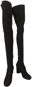 Prada High Knee Suede Classic Over The Knee Black Boots