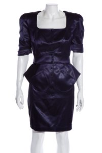 Thierry Mugler THIERRY MUGLER Navy Satin Skirt Suit