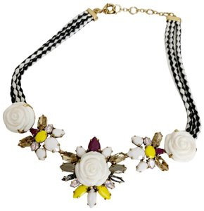 J.Crew J.crew necklace white flower jeweled pink purple yellow stones black white rope