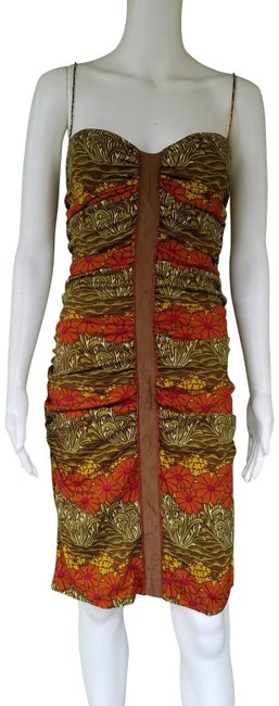 Item - Green Brown Rust Gold Floral Silk Ruched Mid-length Night Out Dress Size 8 (M)