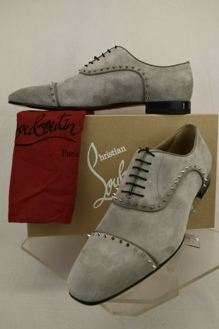 Item - Gray Eton Flat Gres Silver Studs Suede Lace Up Oxfords 45 / 12 Shoes