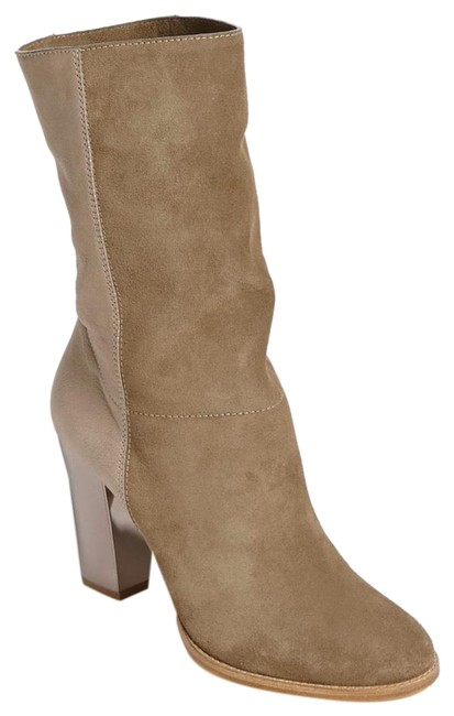 Item - Taupe Music Suede Calf Leather Metal Heel Mid-calf Boots/Booties Size EU 37 (Approx. US 7) Regular (M, B)